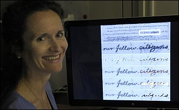 Dr. Fenella France, a research chemist at the Library of Congress, shows recent imaging of the document. (Susan Walsh - AP) Click on image to read the entire story on the Washington Post website.