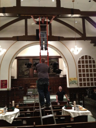 Jon, Steve and Fred install our new screen and projector.